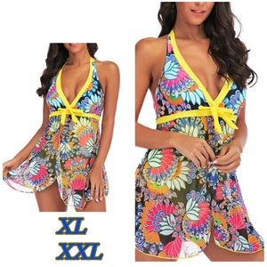 Other - NWT XLXXL Yellow swimsuit floral chiffon overwrap
